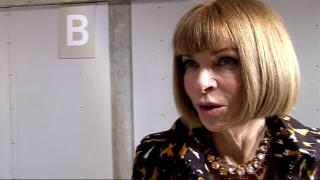 Christopher Kane show Anna Wintour Jo Wood Alexa Chung interviews ENGLAND London INT Anna Wintour interview SOT On Philip Green opening Topshop in...