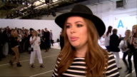 Topshop show ENGLAND London PHOTOGRAPHY** Jamie Campbell Bower interview SOT / Sai Bennett chatting to others / Tanya Burr interview SOT / Gala...
