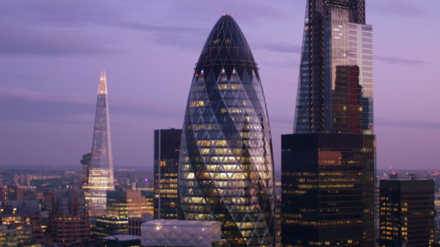 London Financial District. Close-up. 4K