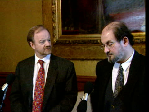 June In 1947 Salman Rushdie was born Foreign Office Salman Rushdie and Robin Cook MP at press conference / Salman Rushdie press conference SOT
