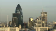 General views from roof of LWT building Skyline with NatWest Tower and Gherkin building prominent / Gherkin building / cranes / River Thames and...