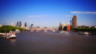 London HD timelapse. River Thames and city from Waterloo Bridge