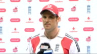 INT Andrew Strauss press conference SOT he helped bring new audience to cricket / kept us going in dressing room / could be inspirational
