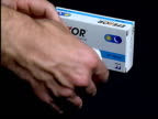 London CS Boxes of the antidepressant drug Effexor which regulators recommend is not prescribed for children as blister packs removed and displayed...