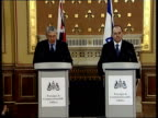 London Foreign Secretary Jack Straw MP along to podium with Israeli Foreign Minister Silvan Shalom ZOOM IN CMS Shalom GV Straw Shalom at podium Jack...