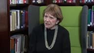 London INT Joan Bakewell chatting to press / Joan Bakewell interview SOT / Bakewell along through bookshop