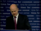 William Hague press conference SOT the document spells out steps to be taken to harmonise income tax and VAT across Europe/ for Brussels harmonious...