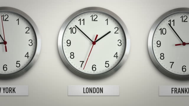 London international time zone wall clock with 12 hour loop
