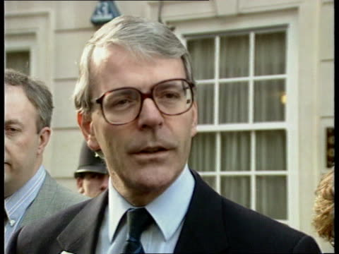 Security and reaction ITN Smith Sq John Major towards and stops by press as speaks SOF Is glad no casualties/ terrorists should know by now that they...