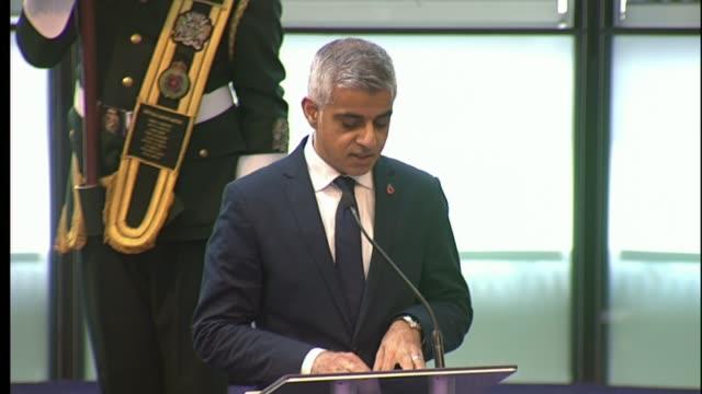 London Mayor Sadiq Khan attends remebrance ceremony at City Hall Sadiq Khan reading poem SOT