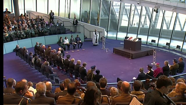 London Mayor Sadiq Khan attends remebrance ceremony at City Hall ENGLAND London City Hall INT Service personnel attending service of remembrance as...