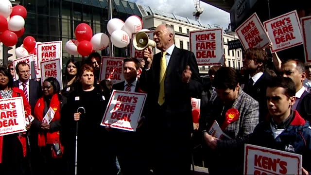Ken Livingstone campaigning ENGLAND London EXT Ken Livingstone MP along to Labour supporters / Ken Livingstone speech using megaphone SOT supporters...