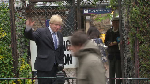 London Mayoral Elections 2012 Exterior shots of Boris Johnson Conservative candidate arriving with wife Marina Wheeler walking towards Polling...