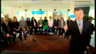 Live studio debate with Ken Livingstone Boris Johnson and Brian Paddick ENGLAND London South Bank Reporter to camera introducing the 13 people on the...