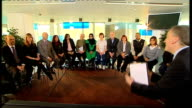 Live studio debate with Ken Livingstone Boris Johnson and Brian Paddick ENGLAND London South Bank Reporter to camera with the 13 people on the panel...