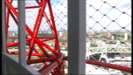 London O2 'sky walkway' to open in June TX ArcelorMittal Orbit tower in Olympic Park setting Various shots of Emirates Air Line Thames Cable Car in...