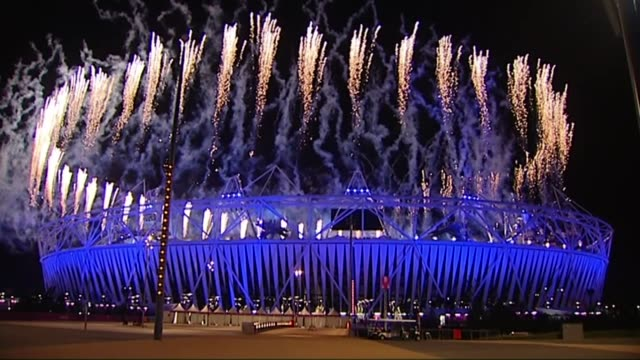 London Olympic Stadium taken over by London Mayor Sadiq Khan R28071206 / 28/7/2012 Fireworks over Olympic Stadium