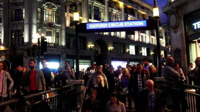 London Oxford Circus Subway Station Entrance At Night