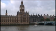 HD: London Parliament (Big Ben) Exterior Over Boat On River