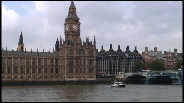 HD: London Parliament (Big Ben) Exterior Over Boat On River