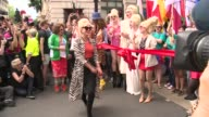 London Pride parade Drag queens dressed as Patsy from 'Absolutely Fabulous' / Jennifer Saunders and Joanna Lumley along dressed as Eddie and Patsy to...