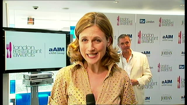 London Restaurant Awards nominees announced ENGLAND London INT Katie Derham piece to camera Michel Roux interview SOT