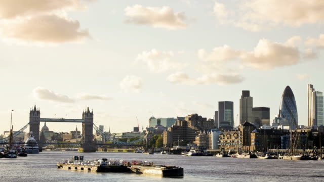 London Skyline and Tower Bridge Timelapse, HD Video