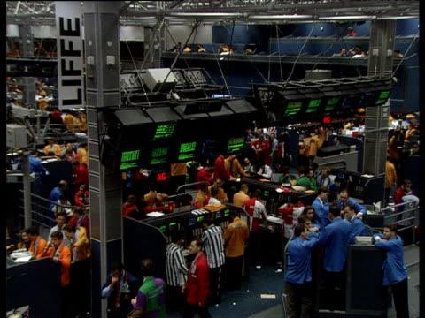 London Stock Exchange Floor Traders Working Stock Footage