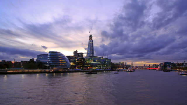 London sunset HD timelapse. River Thames from Tower Bridge