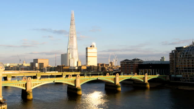 London sunset HD timelapse. The Shard and River Thames