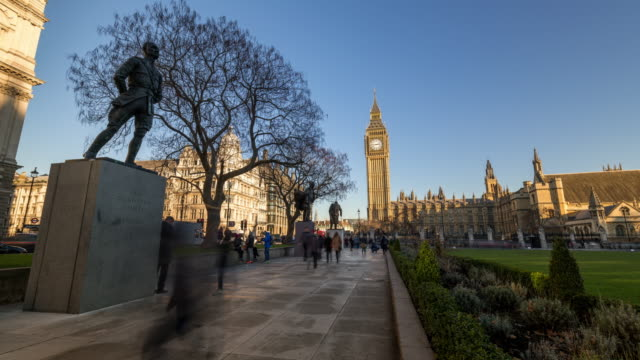 London: TimeLapse of Westminster Parliament and Big Ben during a sunny day
