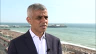 Khan says Uber need to play by the rules ENGLAND East Sussex Brighton EXT Sadiq Khan interview SOT London Fred Jones interview SOT