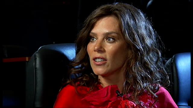 London Vue Westfield INT Anna Friel interview with reporter intermittently in shot SOT On Vue Westfield cinema / her new film London Boulevard /...