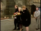 London Wandsworth Prison MS Iris Bentley along to lay wreath on anniversary of her brothers hanging LAGV Wandsworth entrance BV Wreath being layed CS...