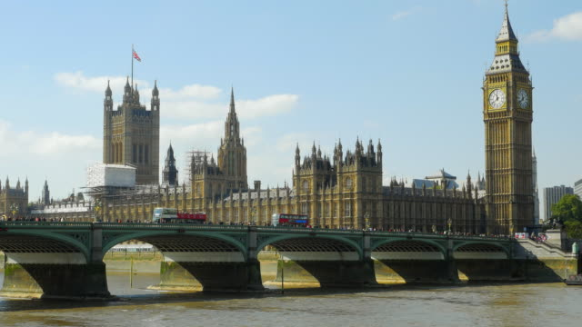 London Westminster Bridge And Big Ben At Midday (UHD)