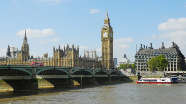 London Westminster Bridge And Big Ben On Sunny Day (UHD)