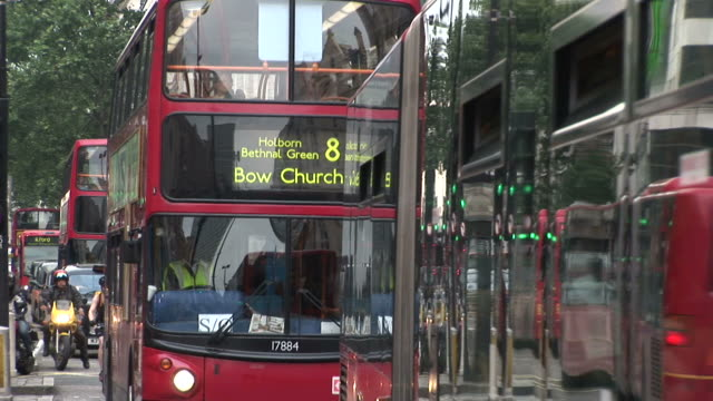 LondonView of Double Decker buses in city of London United Kingdom