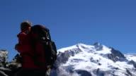 Lone climber in the Matterhorn region