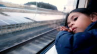 Lonely girl in the train.
