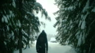 Lonely walk in deep snow