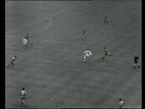 Long ball into box finds Billy Bremner who scores equalising goal with curling halfvolley Leeds United vs Liverpool 1965 FA Cup Final Wembley London