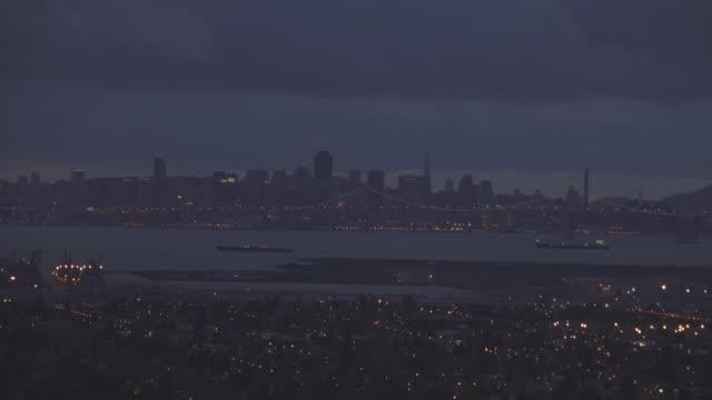 AERIAL Long Beach Harbor and city skyline / Long Beach, California, United States