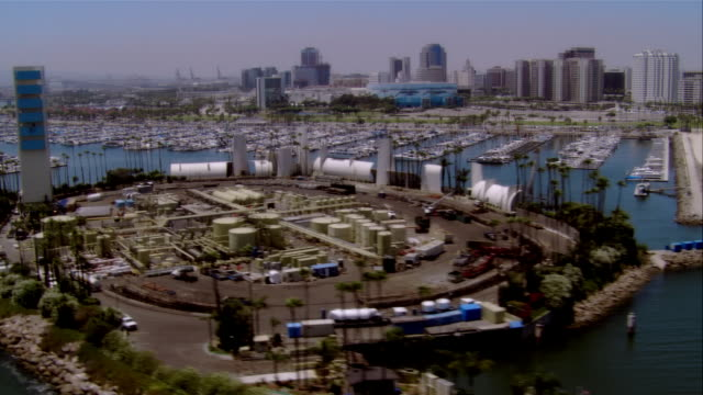 AERIAL Long Beach Harbor, California, USA