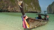 MS Long Boat Tied to Shore / Ko Phi Phi Leh, Thailand
