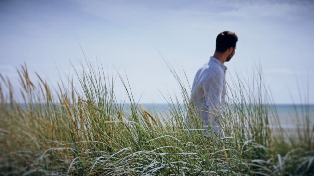 Long grass blowing, contemplation. Young man standing then walking.