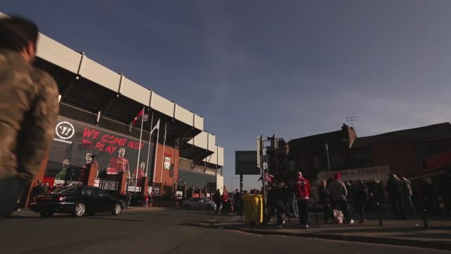 Long panning shot Anfield Stadium exterior Liverpool v Swansea on February 17 2013 in Liverpool England