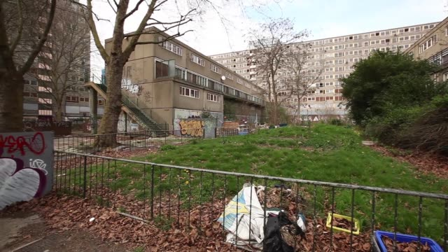 Long panning shot from left to right of Heygate housing estate Flats Lie Empty On The Derelict Heygate Estate on April 24 2013 in London England Long...