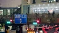 Long panning shot of footbridge Scenes Of Shibuya on May 09 2013 in Tokyo Japan