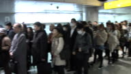 Long queues at the Keio Inokashira Line in Shibuya Terminal