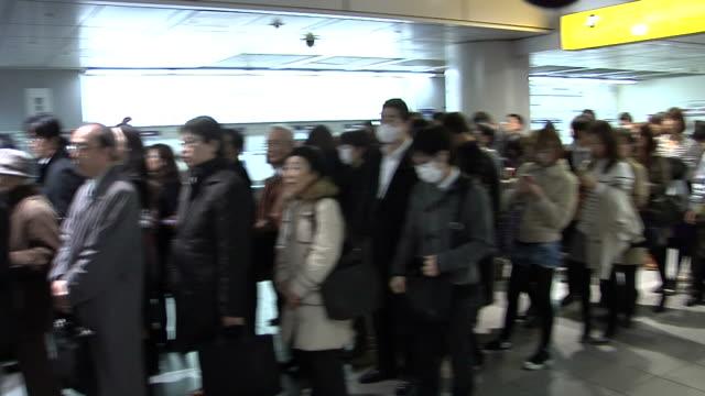 Long queues at the Keio Inokashira Line in Shibuya Terminal